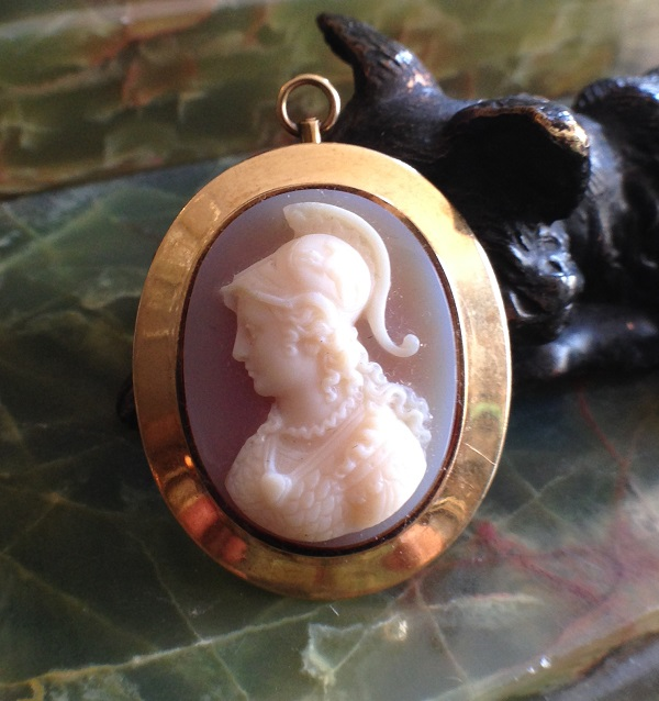 cameo, Zeus, classical, jewelry, goldfilled, antique, 19th century, Victorian